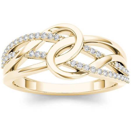 1/6 Carat T.W. Diamond Interlocking Loop 10kt Yellow Gold Fashion Ring