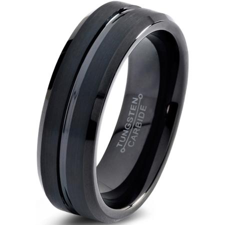 4mm Comfort Fit Wedding Ring (Tungsten Wedding Band Ring 4mm for Men Women Comfort Fit Black  Beveled Edge Polished Brushed Lifetime)