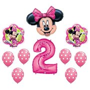 680e04d4e80 MINNIE MOUSE 2 2nd Pink Polka Dots Flower Shaped 10 Piece Birthday Party  Mylar and Latex