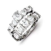 Sterling Silver 2-Piece CZ Wedding Set Ring Size 7