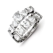 Sterling Silver 2-Piece CZ Wedding Set Ring Size 7