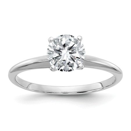 14k White Gold Round (GIA) Certified Diamond Solitaire Engagement Ring (D/VS2- 1Cttw)