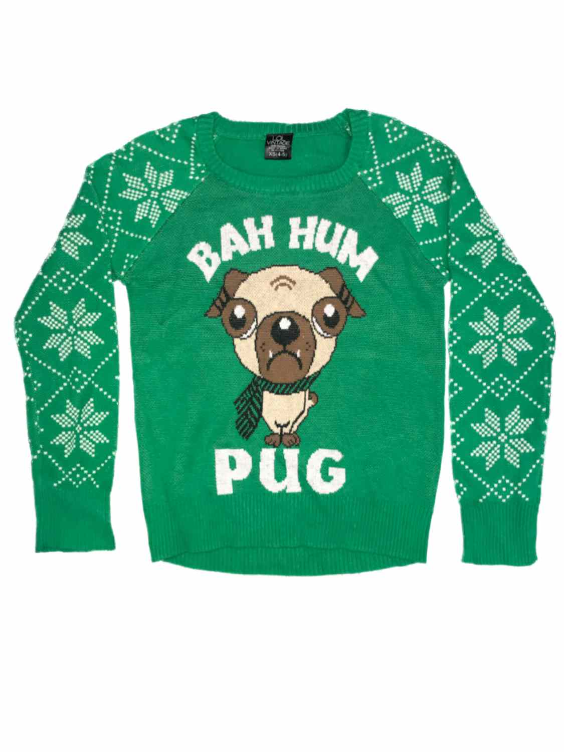 Girls Green Puppy Dog Snowflake Ugly Christmas Sweater Bah Hum Pug Holiday Knit Girls\u0027 Sweaters