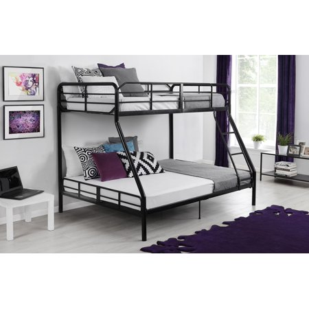 Mainstays Twin Over Full Bunk Bed And Mattress Black Walmart Com