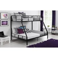Mainstays Twin over Full Bunk Bed and Mattress, Black