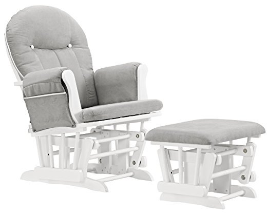 Angel Line Celine Glider And Ottoman, White with Gray Cushions Angel Line Glider Rocker