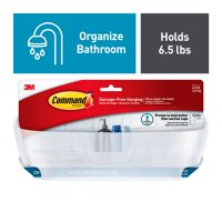 Command Shower Caddy, Frosted, Large, 1 Caddy, 4 Mounting Bases, 4 Large Strips/Pack
