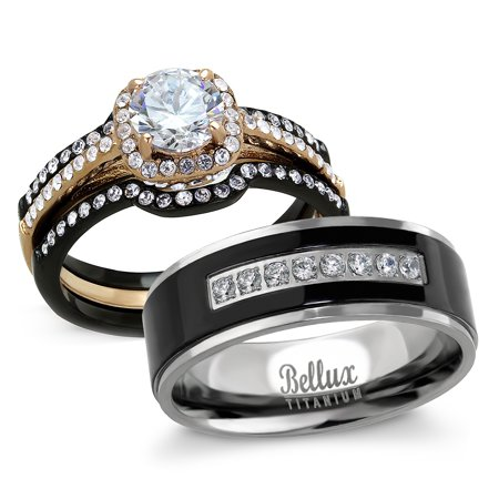 His and Hers Wedding Ring Sets - Women's Halo Design CZ Wedding Rings Sets & Men's Matching Wedding