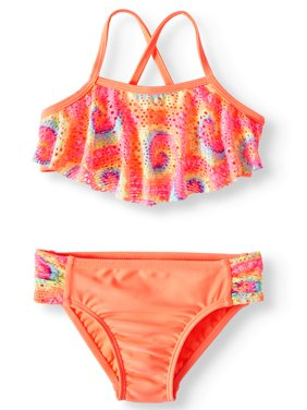 Printed 2piece Cross Back Swimsuit (Toddler Girls)