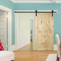 "BELLEZE 42"" x 84"" inches Sliding Barn Door DIY Natural Wood Pine Unfinished, Arrow"