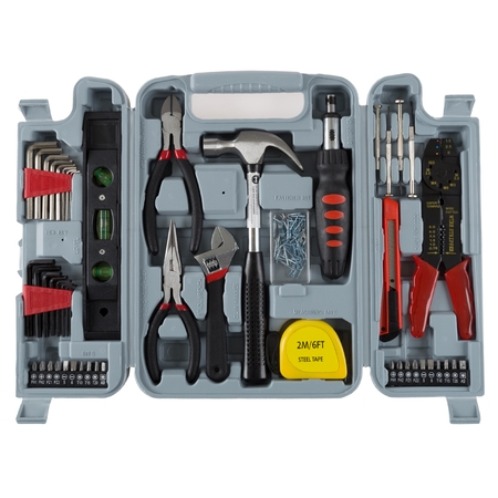 Stalwart 130 Piece Household Hand Tool Set (Travel Tool Kit)