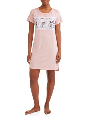 Disney Women's and Women's Plus Mickey Mouse Comic Nightshirt Pink