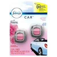 Febreze Car Air Freshener Vent Clips with Downy Scent, April Fresh, 2 count, 0.13 fl oz