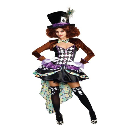 Dreamgirl Women's Whimsical Hatter Madness Storybook Costume - Deluxe Tea Party Hatter Costume