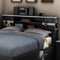 "South Shore Cosmos Full 54"" Bookcase Headboard, Black Onyx/Charcoal"