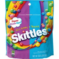 (4 Pack) Skittles, Bite Size Flavor Mash-Ups! Wild Berry + Tropical Candies, 9 Oz