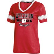 Women s Russell Red Wisconsin Badgers Fashion Jersey V-Neck T-Shirt 50a0c8eeb
