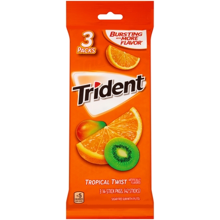 (4 Pack) Trident, Sugar Free Tropical Twist Gum, 14 Pcs, (Pack of 3)