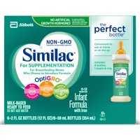 Similac For Supplementation Infant Formula with Iron, Ready-to-Feed Bottles, 2 fl oz (Pack of 6)