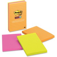 Post-it Super Sticky Lined Notes 3 Pack, 4in. x 6in., Rio de Janeiro Color Collection
