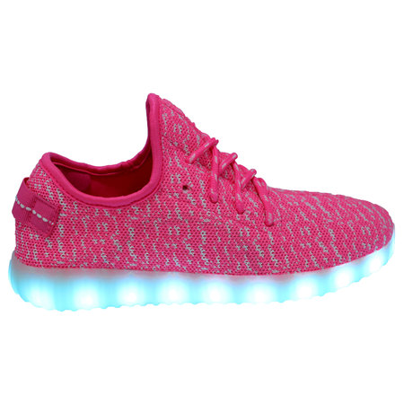 Galaxy LED Shoes Light Up USB Charging Low Top Knit App Control Women Sneakers (Pink) (Leg Shoes)