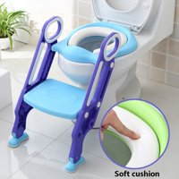Non-Slip Kids Toilet Potty Soft Padded Seat  Step Up Training Stool Chair Toddler Ladder