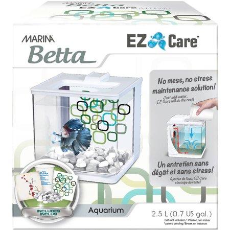 Marina Betta EZ Care 0.5-Gallon Aquarium Starter Kit, White