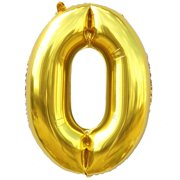 16 Foil Balloon Gold Number 0 Inflated Float Helium Kids Fun Toys