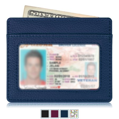 Credit Card Holder with ID Window - RFID Blocking PU Leather Ultra Slim Wallet Credit Card Case Sleeve, Navy 3 Part Show Card Wallet