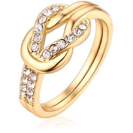 - Swarovski Elements 18kt Gold-Tone Ring
