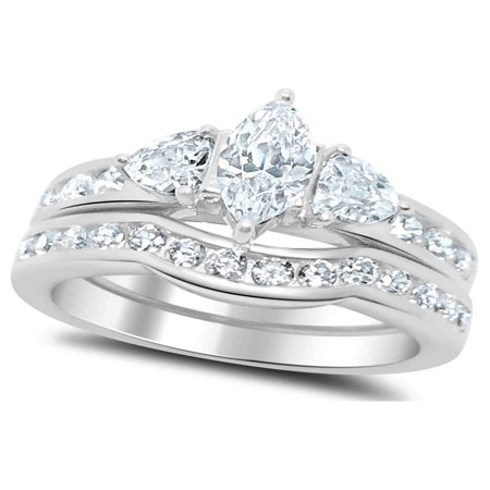 LaRaso Co 2.50 Carat TW Marquise Trillion CZ Wedding Ring Set in Sterling Silver for Women (Marquise Wedding Ring)
