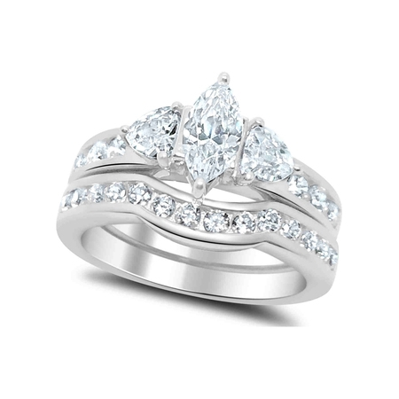 LaRaso Co 2.50 Carat TW Marquise Trillion CZ Wedding Ring Set in Sterling Silver for Women