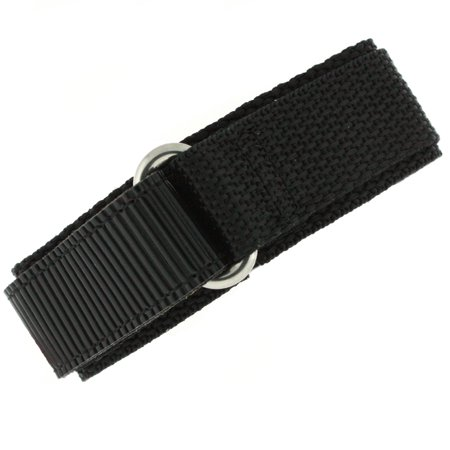 Watch Band Nylon One Piece Wrap Sport Strap Black Adjustable Velcro - (Black Croc Watch Band Strap)