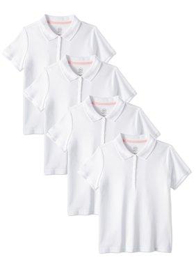 Wonder Nation Girls School Uniform Short Sleeve Interlock Polo, 4-Pack Value Bundle