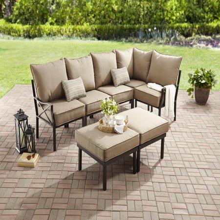Mainstays Sandhill 7 Piece Outdoor Sofa Sectional Set Seats 5