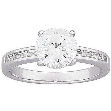 - 5.4 Carat T.G.W. Round and Baguette CZ Engagement Ring in Sterling Silver