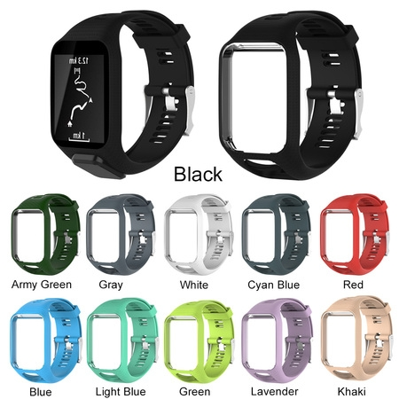 Silicone Quick Release Watch Bands for TomTom Runner 2 3/Spark/Spark 3/Golfer 2/Adventurer, Replacement Silicone Band Strap Accessory ()