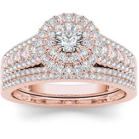 1 Carat T.W. Diamond Double Halo 10kt Rose Gold Engagement Ring Set