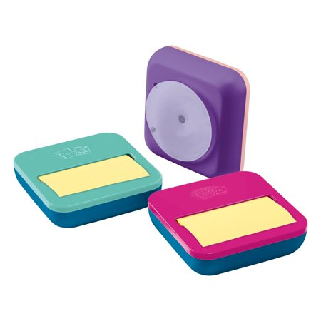 Post-it Pop-up Notes Dispenser, Mixed Case, Pink, Purple or Blue, 3 in x 3 in, with Canary Yellow Notes, 1 Dispenser and 1 Pad/Pack, 50 Sheets/Pad