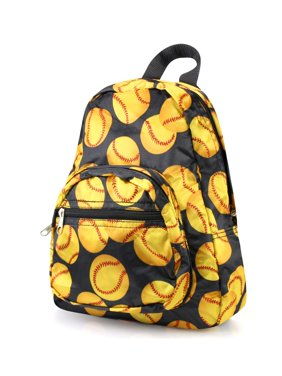 Stylish Kids Small Travel Backpack by Zodaca Girls Boys Bookbag Shoulder Children's School Bag for Outside Activity - Yellow Softball