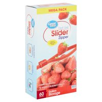 Great Value Slider Zipper Gallon Storage Bags Mega Pack, 60 count