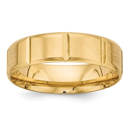 Comfort Fit Fancy Wedding Band - 14k Yellow Gold Heavy Comfort Fit Fancy Wedding Band Size 10