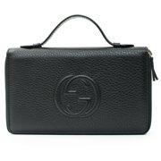 dd57515fddb4 Gucci Soho Black Travel Double zip Leather top Bag Handbag Purse Wallet New