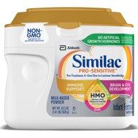 Similac Pro-Sensitive Non-GMO with 2'-FL HMO Infant Formula with Iron for Immune Support, Baby Formula 22.5 oz Tub
