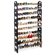 Costway Adjustable 50 Pair 10 Tier Shoe Tower Rack Space Saving Storage Organizer Furni