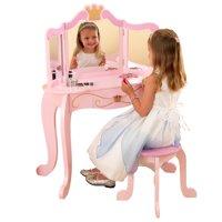 KidKraft Wooden Princess Vanity & Stool Set with Mirror, Children's Furniture - Pink