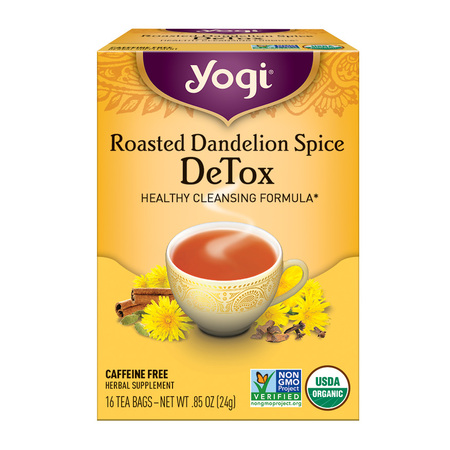 (2 Boxes) Yogi Tea, Roasted Dandelion Spice DeTox Tea, Tea Bags, 16 Ct, .85OZ ()