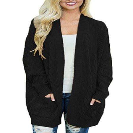 Women Winter Cardigan Long Bat Sleeve Open Front Oversized Sweater Cardigan Outwear Coat ()