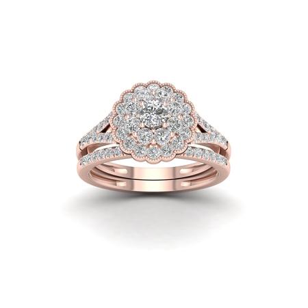 1Ct TDW Diamond 14k Rose Gold Flower Shape Bridal