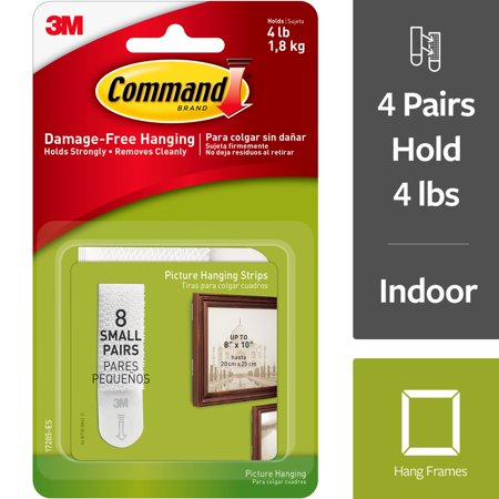 Command Small Picture Hanging Strips White 8 Setspkg Walmartcom